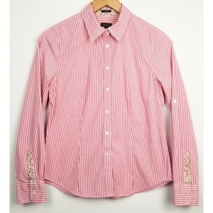 3/$25 Talbots size 6 button up blouse pink striped